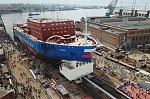 В Петербурге на Балтийском заводе прошла церемония спуска на воду атомного ледокола