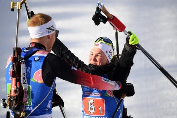 Сборная Норвегии выиграла сингл-микст на чемпионате мира по биатлону