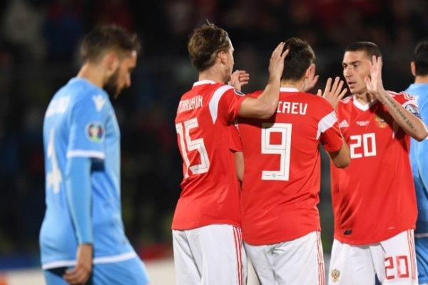 Сборная России осталась на 38-м месте в рейтинге ФИФА