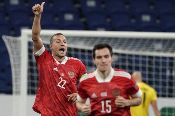 Дзюба догнал Бесчастных по голам за сборную России