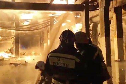 Пожар на российском заводе попал на видео