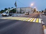 На федеральной трассе А-119 в Карелии обустроен первый проекционный световой пешеходный переход